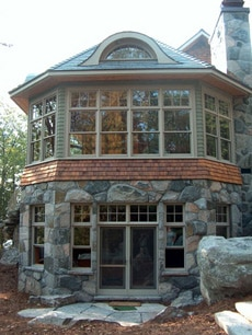 windows with stone house