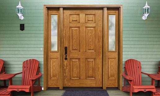 Oak door with trimlite mistlite glass